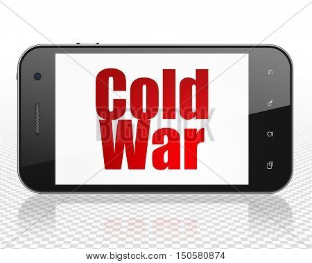 Political concept: Smartphone with red text Cold War on display, 3D rendering