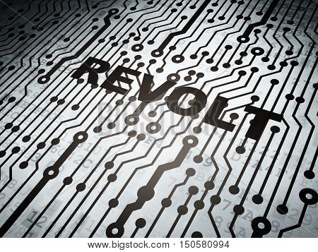 Political concept: circuit board with  word Revolt, 3D rendering
