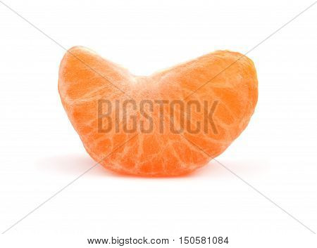 Peeled tangerine isolated on white background. Mandarin