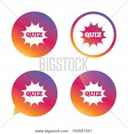 Quiz boom speech bubble sign icon. Questions and answers game symbol. Gradient buttons with flat icon. Speech bubble sign. Vector