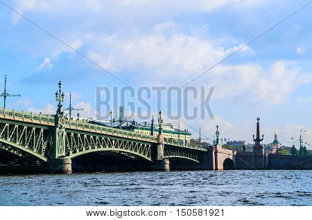 ST PETERSBURG RUSSIA-OCTOBER 3 2016. Palace Bridge - road and foot traffic bascule bridge spans the Neva River in St Petersburg between Palace Square and Vasilievsky Island