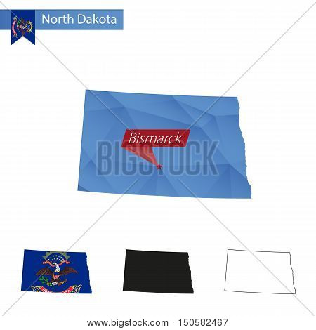State Of North Dakota Blue Low Poly Map With Capital Bismarck.