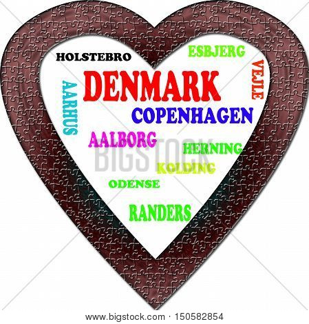 Denmark in the Europe and Denmark's cities as background, with form of the heart
