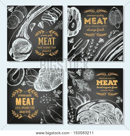 Meat banner set. Linear graphic. Vintage vector illustration of meat.