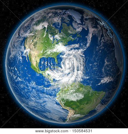 Hurricane Matthew On Globe