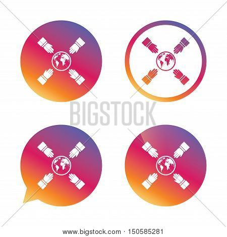 Hands reach for earth sign icon. Save planet symbol. Gradient buttons with flat icon. Speech bubble sign. Vector
