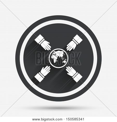 Hands reach for earth sign icon. Save planet symbol. Circle flat button with shadow and border. Vector