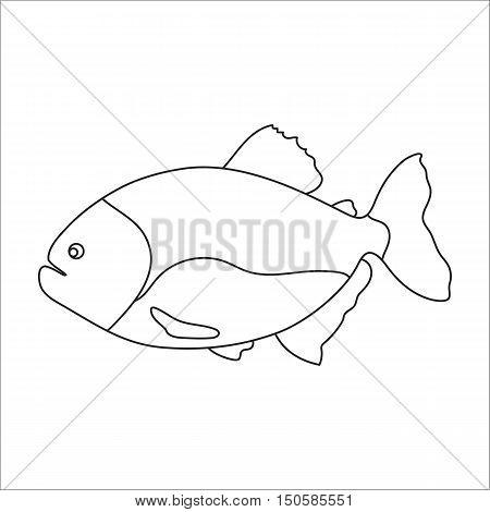 Piranha fish icon cartoon. Singe aquarium fish icon from the sea