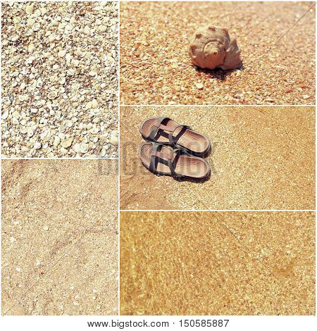 Collage of toned pictures of many beach items - flip-flops, shells, sand, sea water. Toned shot set, a lot of space for text.