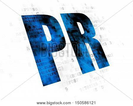 Advertising concept: Pixelated blue text PR on Digital background
