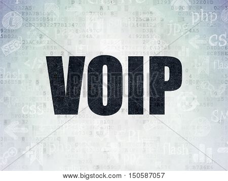 Web design concept: Painted black text VOIP on Digital Data Paper background with   Hand Drawn Site Development Icons