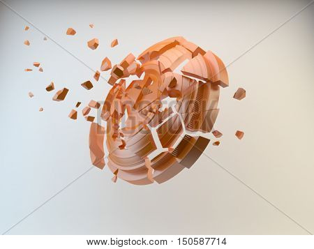 3d shatters clay target for shooting on a white sky