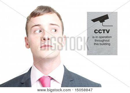 A business man looking sideways
