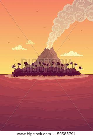Cartoon tropical island with a smoking volcano.
