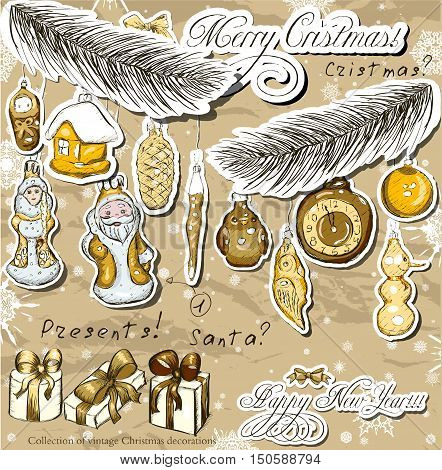 Poster with vintage Christmas decorations . Vector illustration EPS10