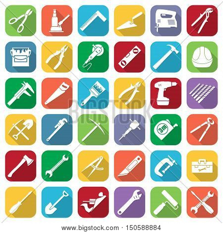 Set of thirty six flat style tools icons on a different color backgrounds with oblique shadows. Vector illustration.