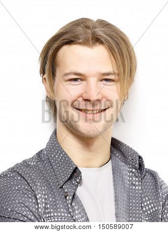 portrait of stylish young man on white background