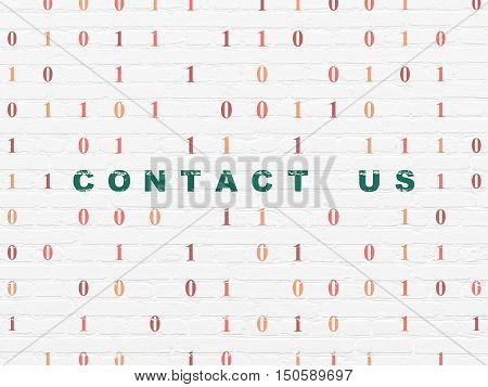 Finance concept: Painted green text Contact us on White Brick wall background with Binary Code