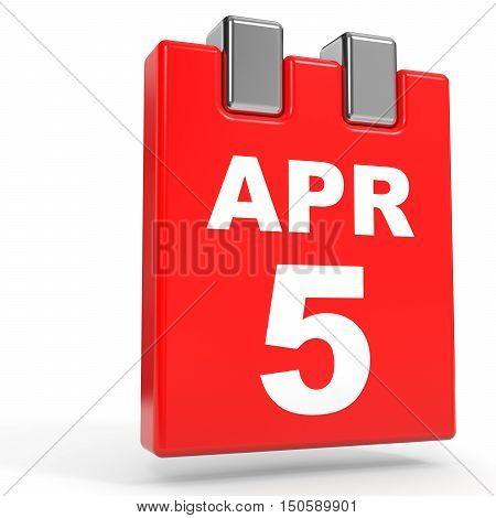 April 5. Calendar On White Background.