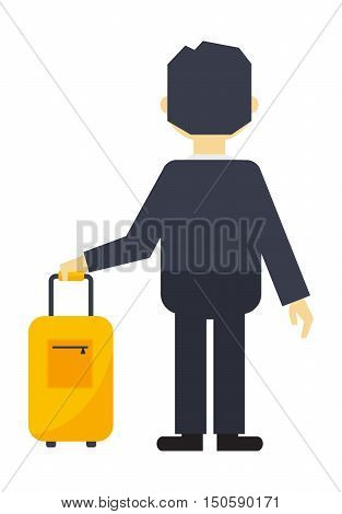 Businessman with travel luggage. Traveler people airport man with travel bag character. Tourist lifestyle walk happy man with travel bag journey vacation businessman tourism. poster