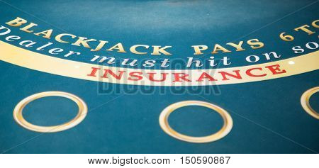 A Blackjack Insurance on Green Felt Table