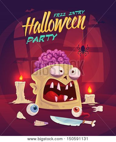 Zombie with brain. Horror set. Halloween poster background card. Vector illustration.
