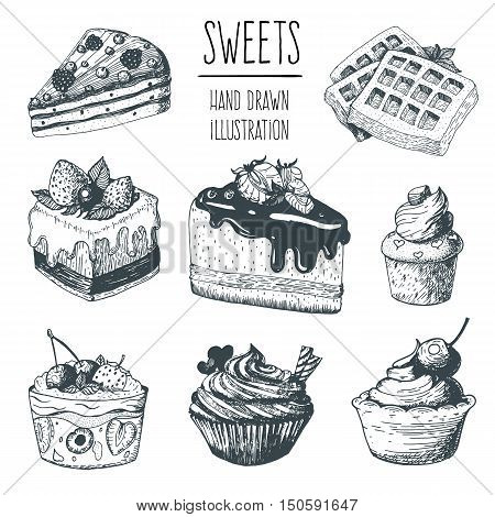 Hand drawn cakes collection isolated on white . Cakes pies biscuits and other confectionery products. Linear drawn vector illustration. Elements for vintage design.