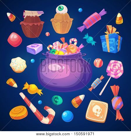Happy halloween. Set of colorful halloween sweets and candies icons