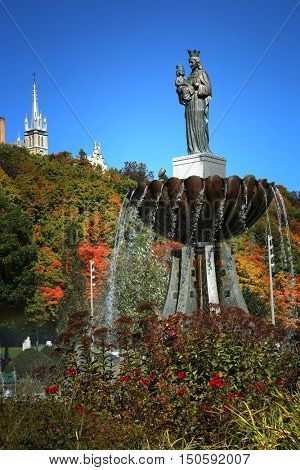QUEBEC-CANADA 16 SEPT 2016:   Ste-Anne-de Beaupre fountain at Basilica of Sainte-Anne-de-Beaupre in Quebec, Canada during fall season