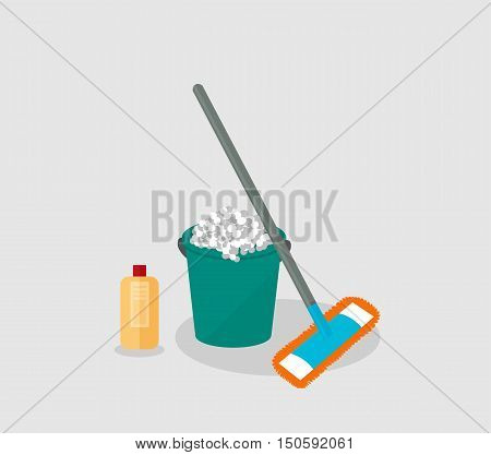 Tools for housekeeping: a green bucket with soapy foam, MOP with grey handle and orange cloth and yellow bottle of detergent with a red cover. Vector illustration