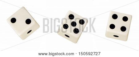 Three black and white numbered floating dice