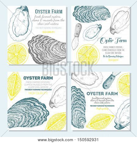 Vector illustration of oyster. Oyster farm and oyster restaurant design template. Oyster banner collection. Linear graphic.