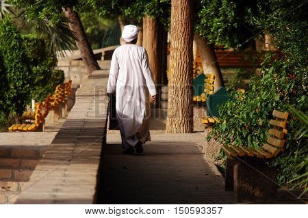 Egyptian man on Elephantine Island in Aswan Egypt. It's the largest of Aswan area islands and is one of the most ancient sites in Egypt with artifacts dating 3100 B.C