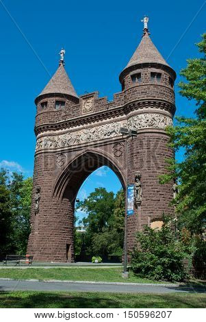 West side view of The Soldiers and Sailors Memorial Arch is a notable memorial to the American Civil War located in Hartford Connecticut. It was the first permanent triumphal arch in America and honors the 4000 Hartford citizens who served in the war.