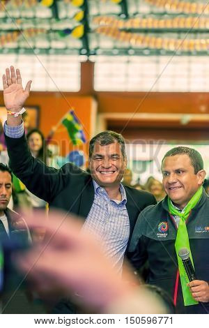 Banos De Agua Santa Ecuador - 23 June 2016: Appearance Of Ecuadorian President Rafael Correa In The Middle Of The Crowd Of People In Banos De Agua Santa With The Mayor Of The Town Marlon Guevara Ecuador South America