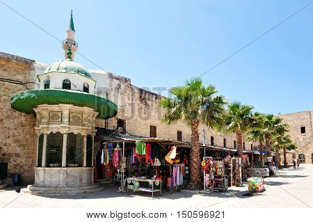 Shops outside the Jezzar Pasha Mosque in Acre Akko Israel.