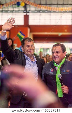 Banos De Agua Santa Ecuador - 23 June 2016: Rafael Correa President Of Ecuador With Mayer Of Banos De Agua Santa Marlon Guevara Ecuador South America