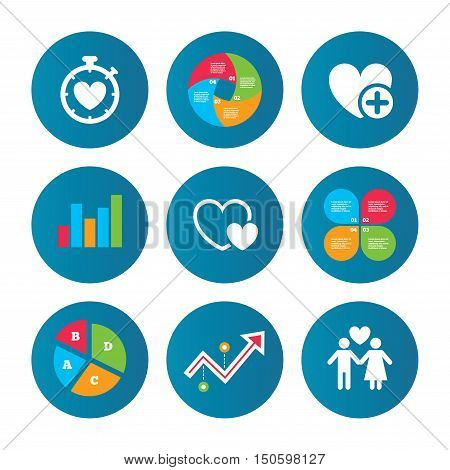 Business pie chart. Growth curve. Presentation buttons. Valentine day love icons. Love heart timer symbol. Couple lovers sign. Add new love relationship. Data analysis. Vector