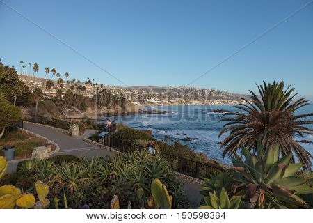 Sunset over Main Beach at Laguna Beach, California