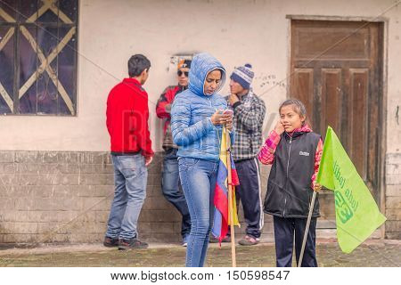 Banos De Agua Santa Ecuador - 23 June 2016:Group Of Ecuadorian Kids Waiting For The President Rafael Correa Delgado In Banos De Agua Santa Ecuador South America