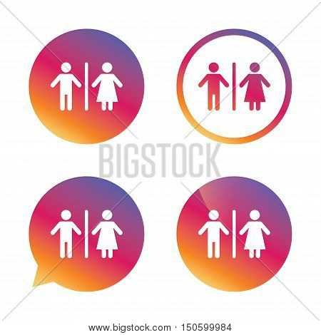 WC sign icon. Toilet symbol. Male and Female toilet. Gradient buttons with flat icon. Speech bubble sign. Vector