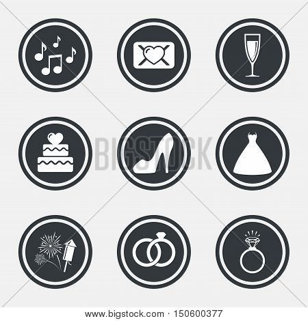 Wedding, engagement icons. Cake with heart, gift box and vow love letter signs. Dress, fireworks and musical notes symbols. Circle flat buttons with icons and border. Vector