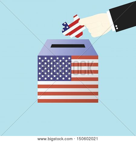 Voting Concept By Hand Putting Jigsaw Or Puzzle In The Ballot Box Usa