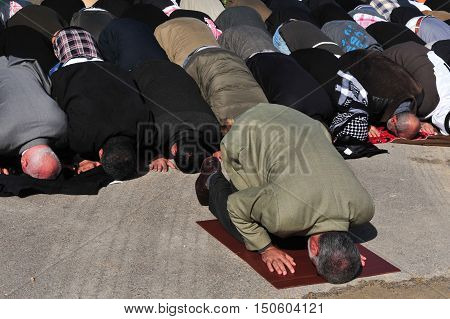 Men during a mass muslim prayer session