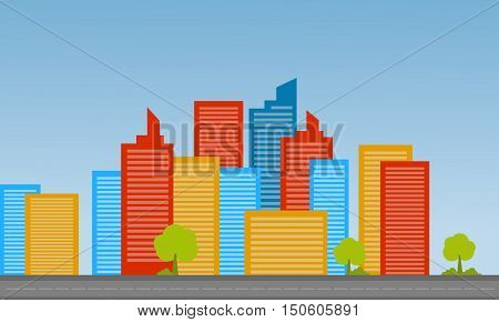 Cityscape landscape vector illustration flat collection stock