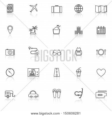 Trip line icons with reflect on white background, stock vector