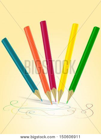 Set of colorful colored pencils with brush strokes. Vector Illustration