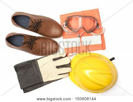 construction safety, safety equipment on white background isolate