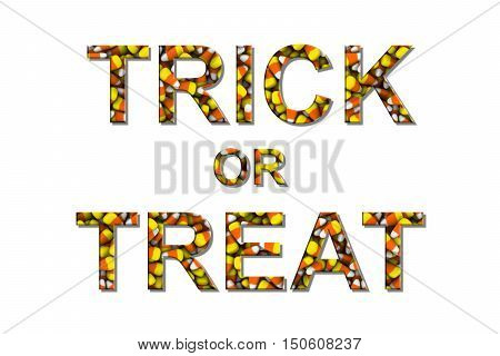 Trick Or Treat Text Made Of Candy Corns Isolated On White 3D Illustration