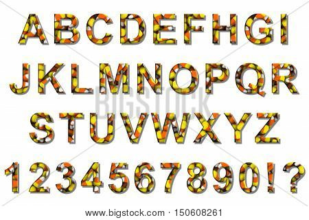 Halloween Candy Corn Font Alphabet Isolated On White 3D Illustration